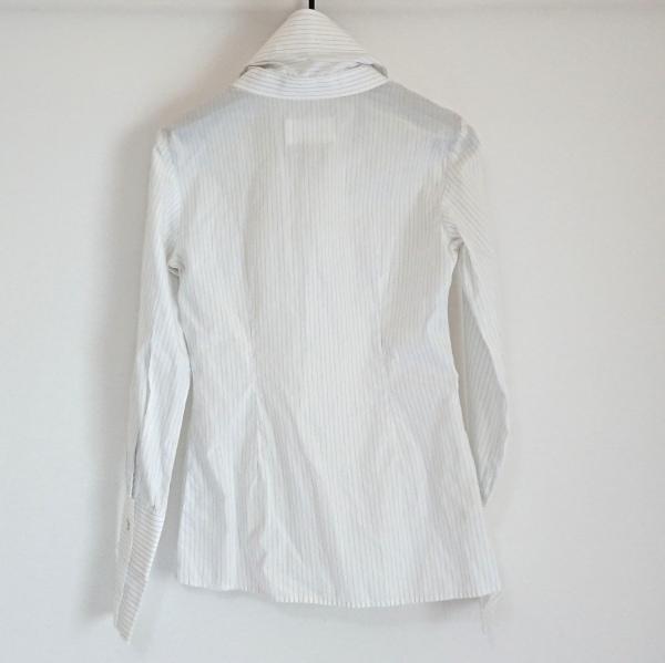 マルタンマルジェラ 長袖シャツブラウス サイズ36 S レディース 白×ライトブルー