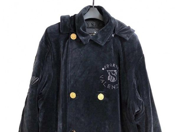 バレンザポー コート サイズ40 M レディース 黒 冬物/ベロア/ラインストーン