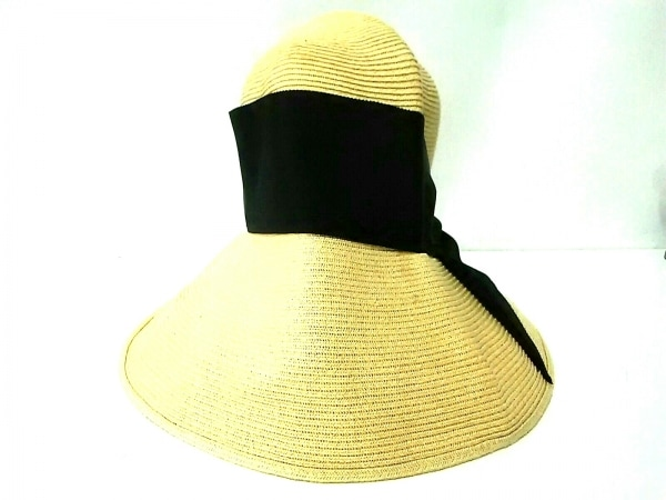 Athena(アシーナ) 帽子 アイボリー×黒 リボン 指定外繊維(紙)×ポリエステル