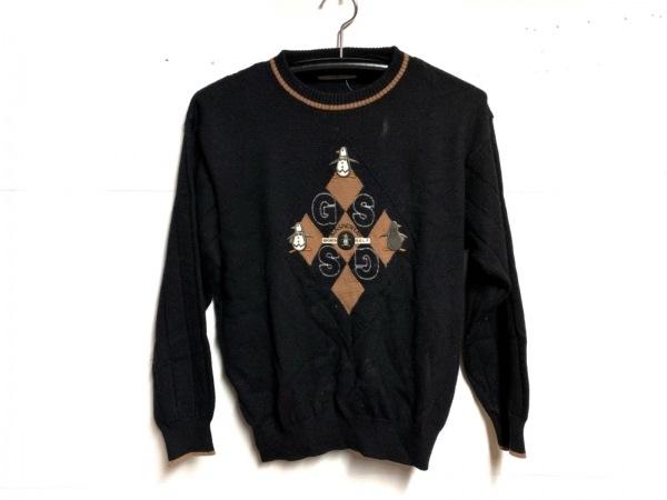 マンシングウェア 長袖セーター サイズM レディース 黒×ライトブラウン×マルチ 刺繍