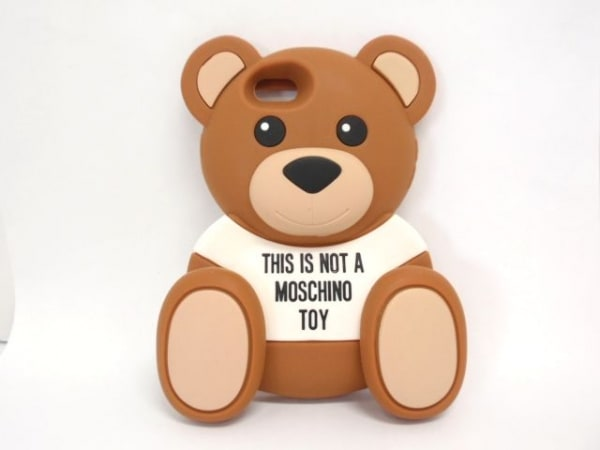MOSCHINO(モスキーノ) 携帯電話ケース ブラウン×マルチ クマ/iPhoneケース ラバー
