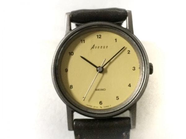 セイコー 腕時計 アベニュー 2P21-0100 レディース 社外ベルト イエローベージュ