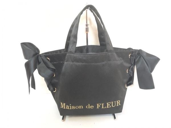 Maison de FLEUR(メゾンドフルール) トートバッグ 黒 リボン サテン
