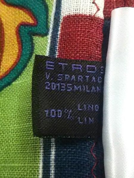 ETRO(エトロ) ストール(ショール)美品  ライトグリーン×マルチ 麻