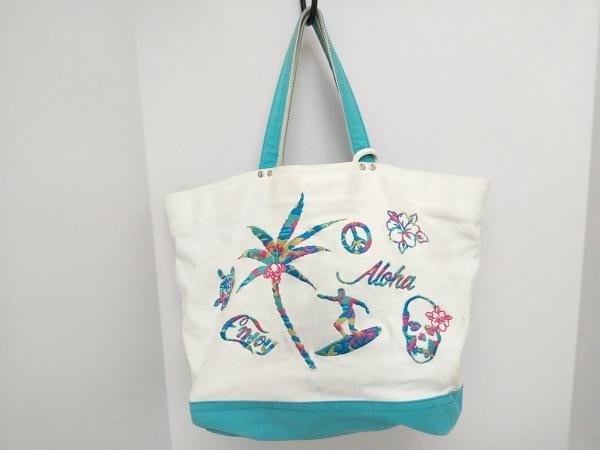 ルシアンペラフィネ トートバッグ 白×ライトブルー 刺繍 キャンバス