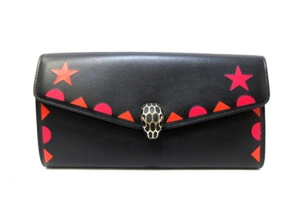 BVLGARI(ブルガリ) 財布美品  セルペンティフォーエバー 284497 黒×ピンク×オレンジ