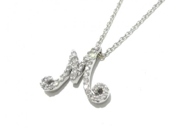 ポンテヴェキオ ネックレス美品  K18WG×ダイヤモンド 0.17カラット/イニシャルM