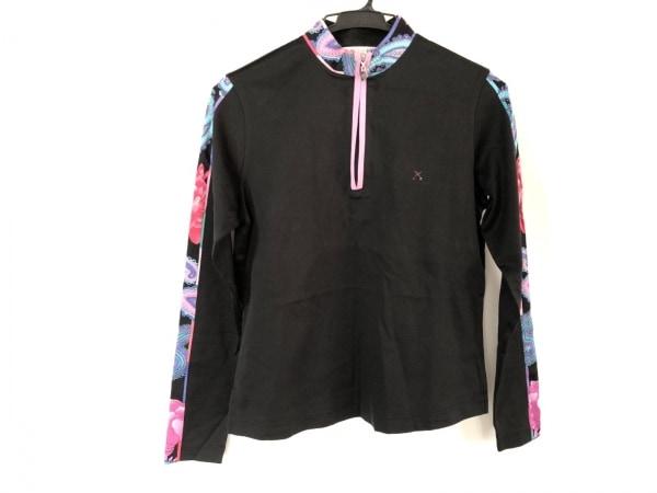 LEONARD(レオナール) 長袖カットソー サイズ38 M レディース 黒×ピンク×マルチ