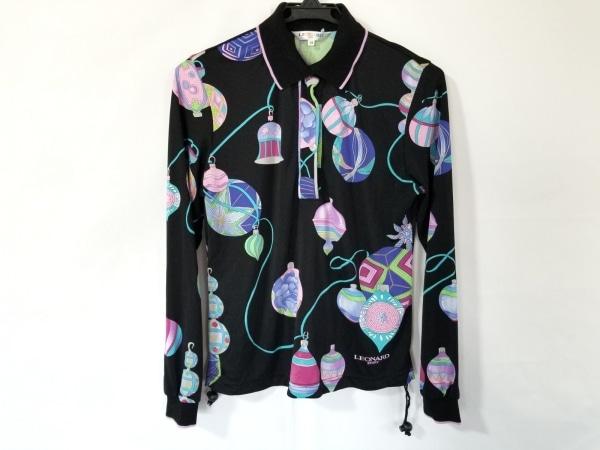 LEONARD(レオナール) 長袖ポロシャツ サイズ38 M レディース美品  黒×ピンク×マルチ