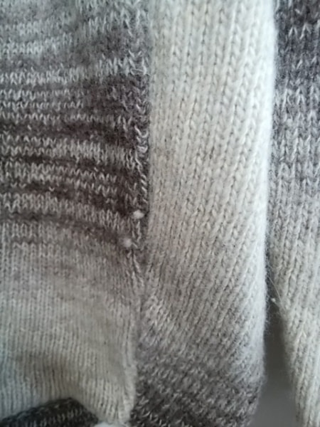 アルマーニジーンズ 長袖セーター サイズM メンズ ライトグレー×ダークブラウン