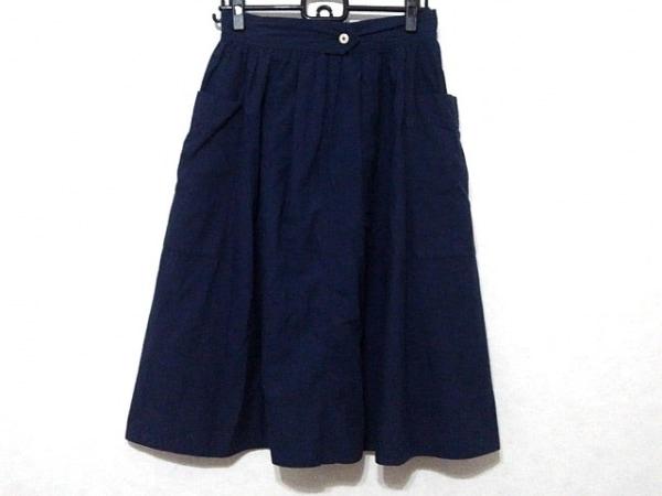 MHL.(マーガレットハウエル) ロングスカート サイズ1 S レディース ネイビー ギャザー