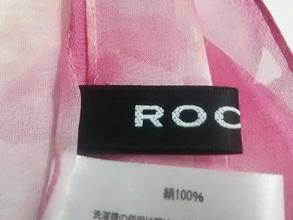 ROCHAS(ロシャス) ストール(ショール) 白×ピンク×レッド 花柄 シルク
