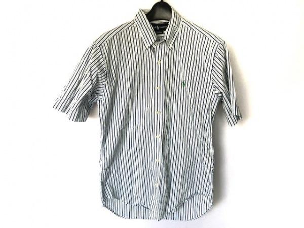 ラルフローレン 半袖シャツ サイズM メンズ美品  白×グリーン×ネイビー ストライプ
