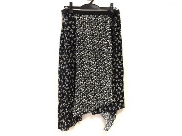 rag&bone(ラグアンドボーン) 巻きスカート サイズ4 XL レディース美品  黒×白 花柄