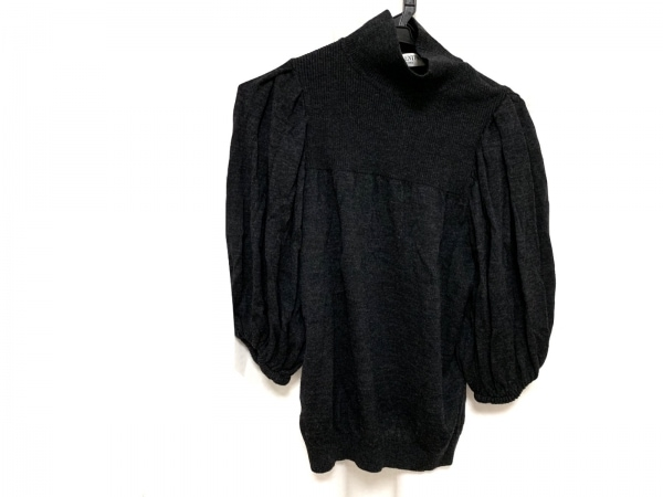 バレンチノローマ 半袖セーター サイズ42 L レディース新品同様  黒 ハイネック