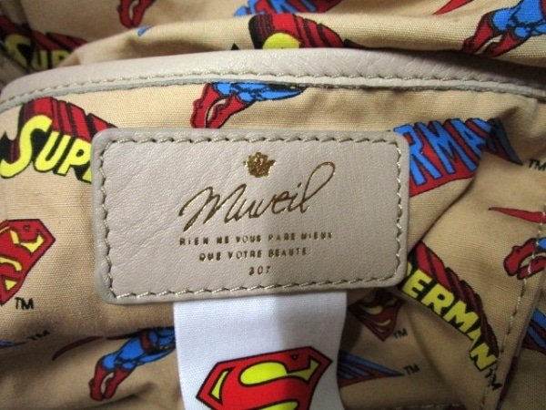 MUVEIL(ミュベール) バッグ ベージュ 裏地SUPERMAN レザー