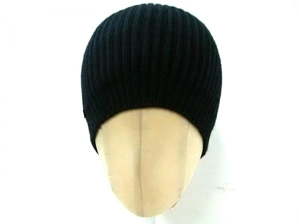 HERMES(エルメス) ニット帽 M美品  黒 Hプレート ウール×シルク