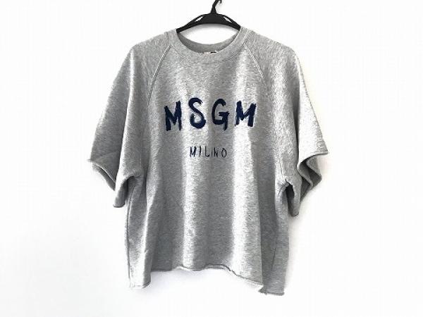 MSGM(エムエスジィエム) トレーナー サイズXS レディース グレー×ブルー 半袖