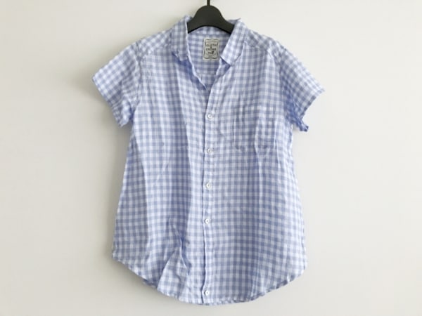 Cloth&Cross(クロス&クロス) 半袖シャツブラウス レディース美品  ライトブルー×白