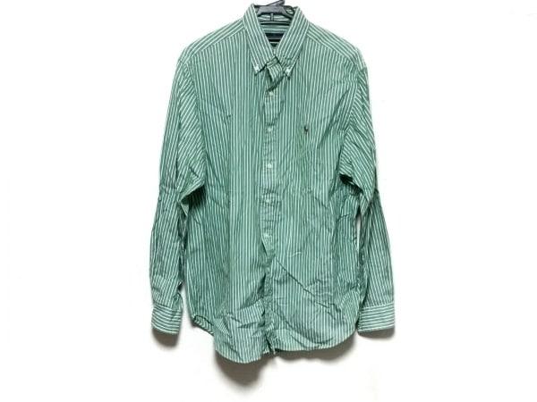 ラルフローレン 長袖シャツ サイズ16 1/2 メンズ グリーン×アイボリー ストライプ
