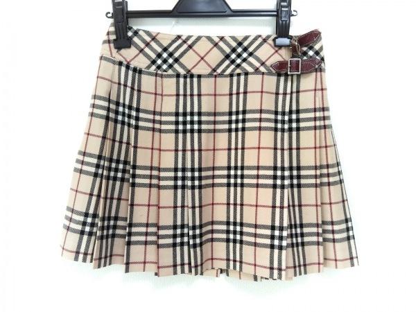 バーバリーブルーレーベル 巻きスカート サイズ36 S レディース ベージュ×黒×レッド