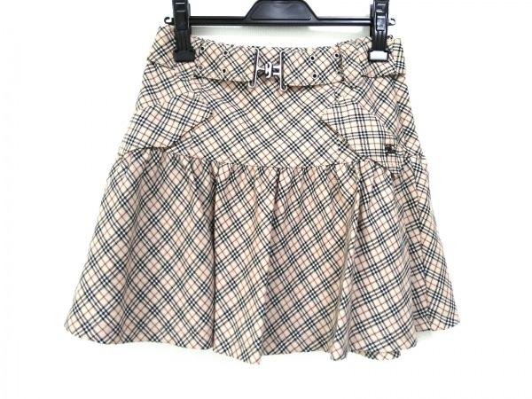 バーバリーブルーレーベル ミニスカート サイズ36 S レディース ベージュ×黒×レッド