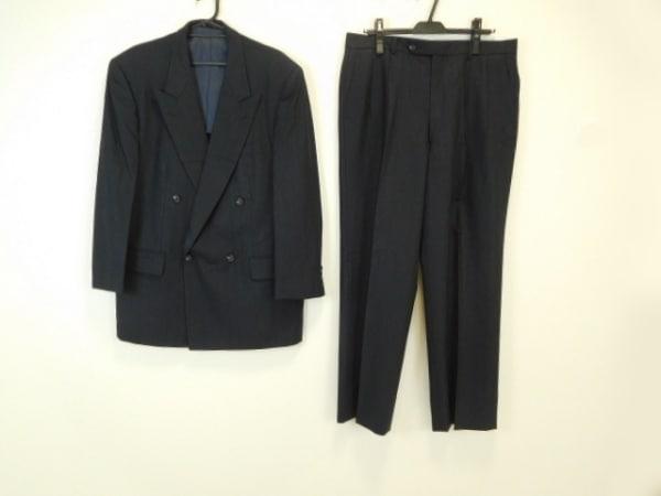 クリスチャンディオールムッシュ ダブルスーツ メンズ 黒×ダークグレー