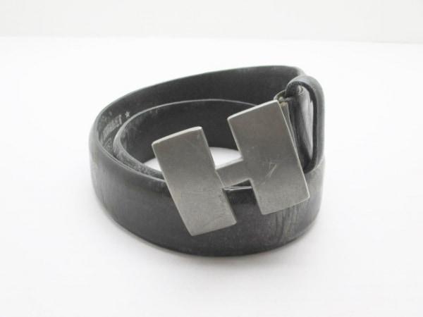 ハリウッドランチマーケット ベルト 30/75 黒×シルバー レザー×金属素材