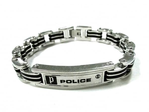 POLICE(ポリス) ブレスレット美品  ステンレススチール シルバー×黒