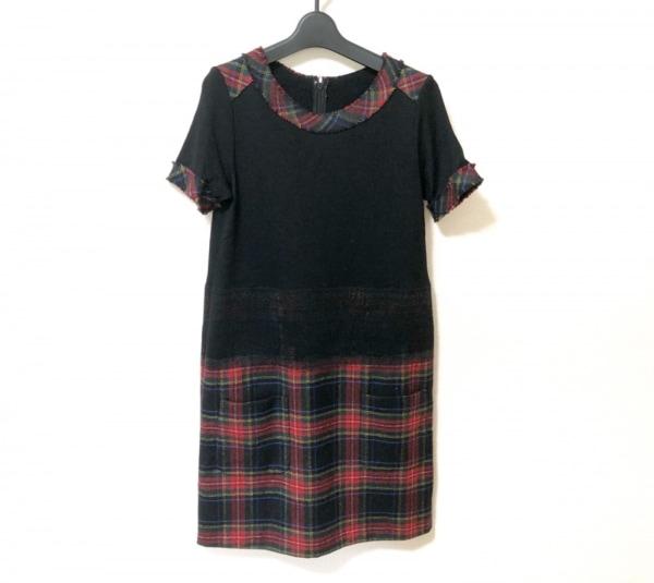 ARTISAN(アルチザン) ワンピース サイズ9 M レディース美品  黒×レッド×マルチ