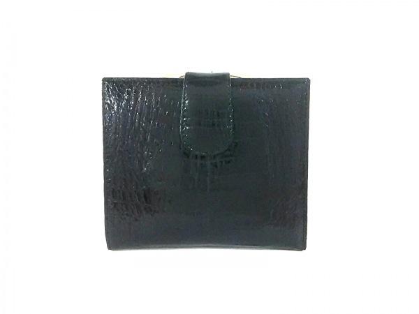 KWANPEN(クワンペン) 2つ折り財布 黒 がま口 クロコダイル