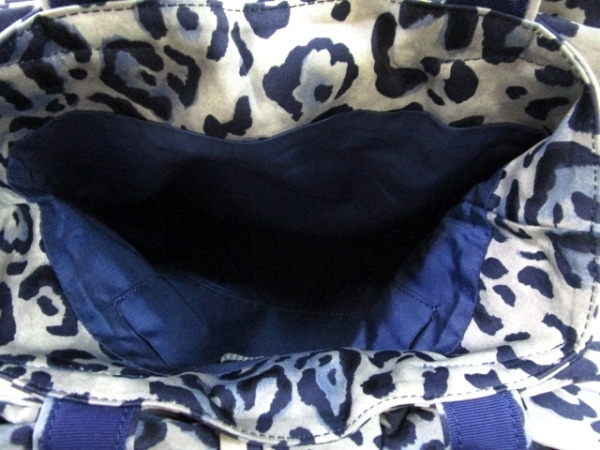 MUGUET(ミュゲ) トートバッグ ネイビー×グレー×マルチ リボン/豹柄 化学繊維