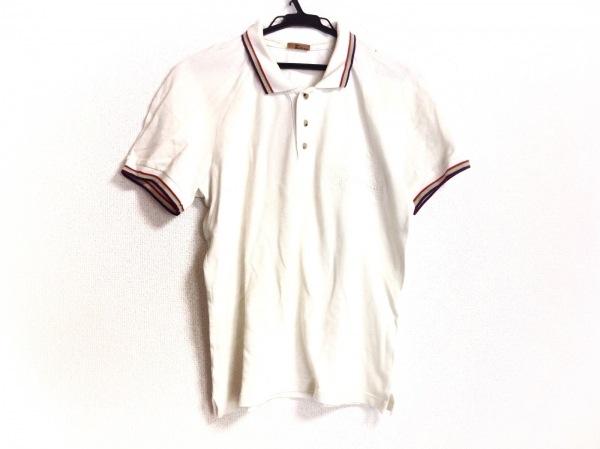 ジョンガリアーノ 半袖ポロシャツ サイズS レディース アイボリー×パープル×マルチ