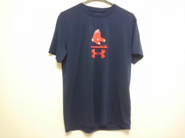 UNDER ARMOUR(アンダーアーマー) 半袖Tシャツ メンズ美品  ネイビー×レッド×白