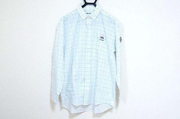 シナコバ 長袖シャツ サイズM メンズ美品  白×ライトブルー×ライトグリーン