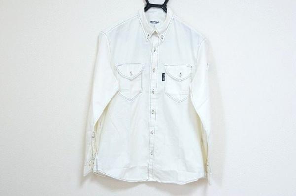 シナコバ 長袖シャツ サイズM メンズ美品  アイボリー×ダークネイビー×マルチ