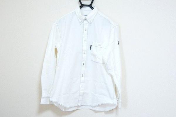 シナコバ 長袖シャツ サイズL メンズ美品  白×ネイビー×マルチ 刺繍/LUPO DI MARE