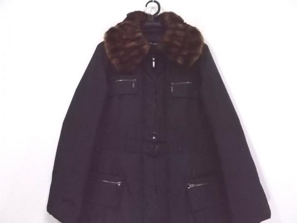 ヒロココシノ ダウンコート サイズ38 M レディース新品同様  黒 ファー/冬物