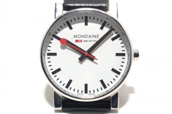 MONDAINE(モンディーン) 腕時計 30300 メンズ 革ベルト 白