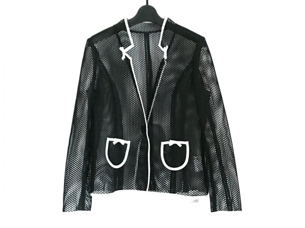スーパービューティー ジャケット サイズ42 L レディース美品  黒×白 メッシュ