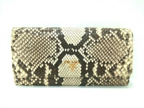 PRADA(プラダ) 財布美品  - アイボリー×ダークブラウン チェーンウォレット パイソン