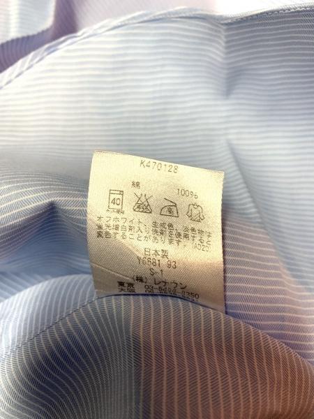ケント&カーウェン 長袖シャツ サイズ41−86 メンズ ライトブルー×白 ボーダー