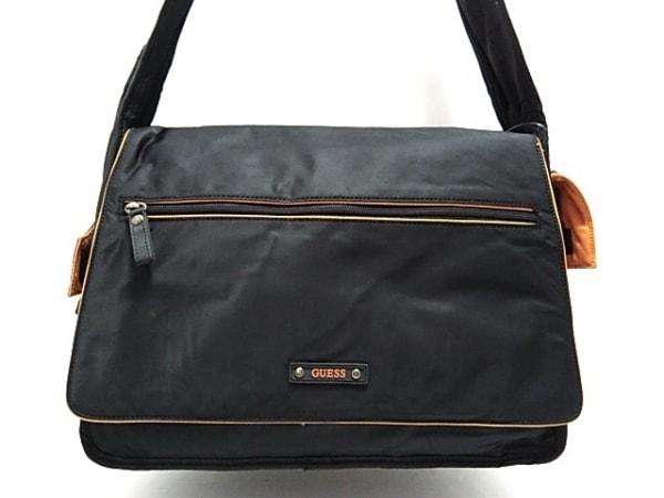 GUESS(ゲス) ショルダーバッグ美品  黒×オレンジ ナイロン