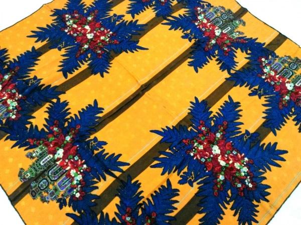 LANVIN(ランバン) スカーフ美品  イエロー×ブルー×マルチ 花柄