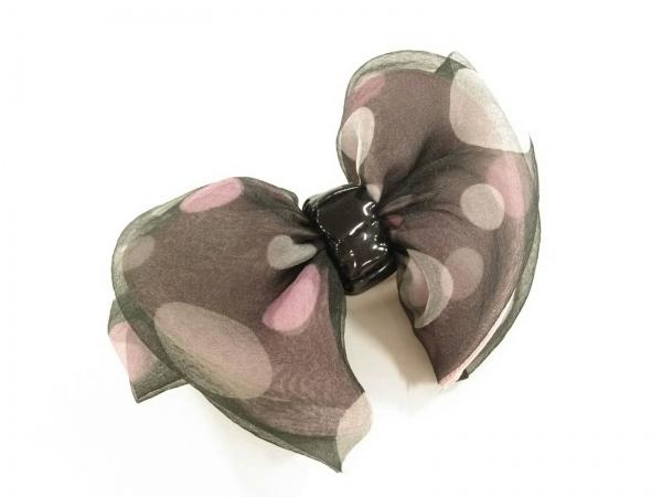 acca(アッカ) バレッタ美品  天然繊維 黒×ピンク×マルチ リボン/ドット柄