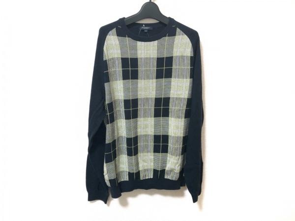 バーバリーロンドン 長袖セーター サイズM メンズ美品  ダークネイビー×イエロー×白