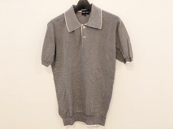 ジョルジオアルマーニ 半袖ポロシャツ サイズ46 S メンズ美品  黒×白 ボーダー