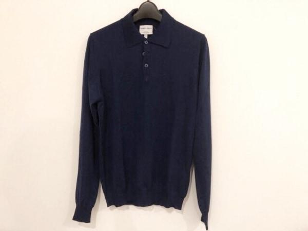 ジョルジオアルマーニ 長袖ポロシャツ サイズ46 S メンズ ブルー カシミヤ