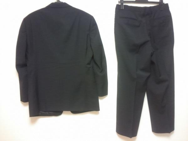 アルマーニコレッツォーニ シングルスーツ メンズ 黒 肩パッド/ストライプ/ネーム刺繍