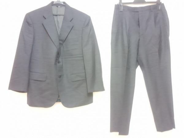 ランバンコレクション シングルスーツ メンズ ダークグレー 肩パッド/ネーム刺繍